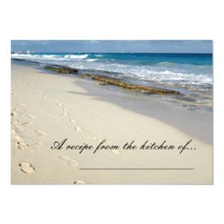 """Huellas en las tarjetas de la receta de la playa invitación 5"""" x 7"""""""