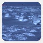 Huellas en South Pole Pegatina Cuadrada