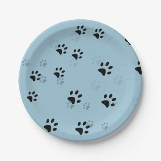 Huellas frescas de los gatos plato de papel de 7 pulgadas