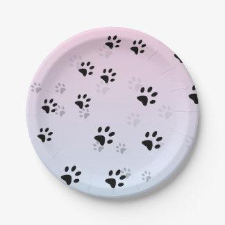 Huellas frescas rosa y azul de los gatos plato de papel de 7 pulgadas