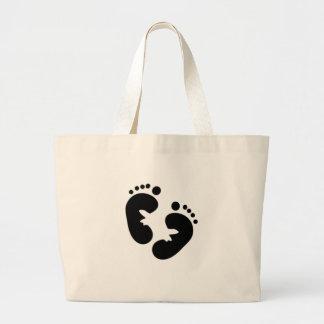 Huellas negras del bebé bolsa tela grande