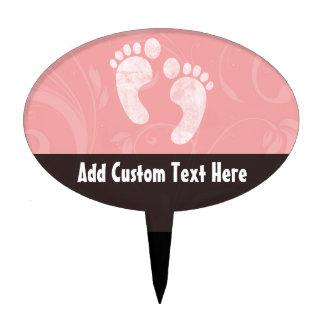 Huellas rosadas/blancas del bebé figuras de tarta