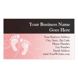 Huellas rosadas/blancas del bebé tarjetas de visita