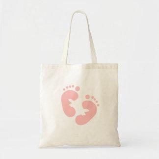 Huellas rosadas del bebé bolsa tela barata