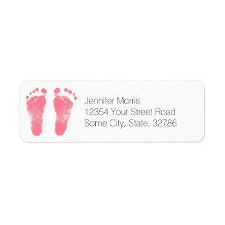 Huellas rosadas y blancas del bebé etiquetas de remite