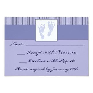 """Huellas RSVP - azul del bebé Invitación 3.5"""" X 5"""""""