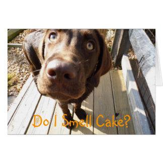 ¿Huelo la torta Tarjeta de felicitación del labor