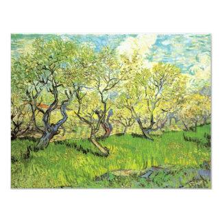 Huerta de Van Gogh en el flor, arte del paisaje Invitación 10,8 X 13,9 Cm
