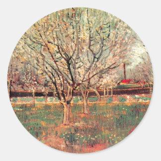 Huerta de Van Gogh en impresionismo del vintage Pegatina Redonda