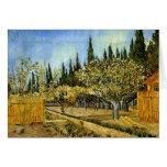 Huerta en el flor, cipreses, Vincent van Gogh Felicitación
