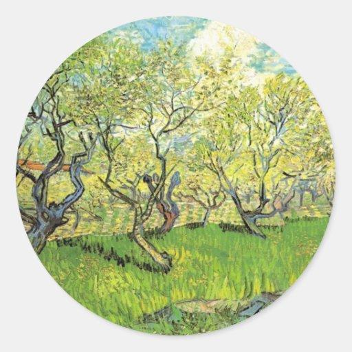 Huerta en el flor Vincent van Gogh Pegatina Redonda