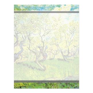 Huerta en el flor, Vincent van Gogh. Plantilla De Membrete