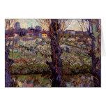Huerta en flor con la vista de Arles de Van Gogh Tarjeta