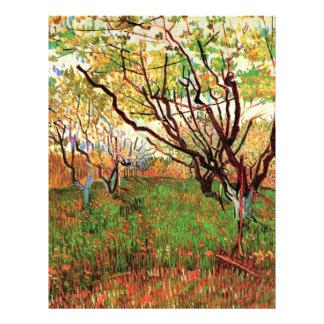 Huerta en flor de Vincent van Gogh Membrete A Diseño
