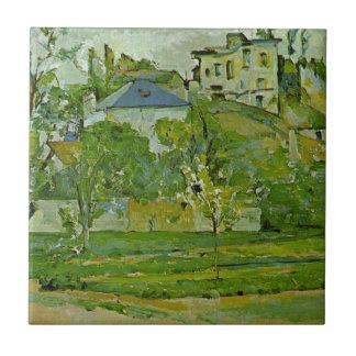 Huerta en Pontoise de Paul Cezanne Azulejo Cuadrado Pequeño