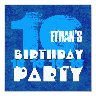 HUES of BLUE 10th Birthday Party 10 Year Old V02A Card