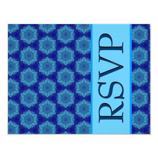 Hues of Blue Stars Modern Wedding RSVP 4.25x5.5 Paper Invitation Card