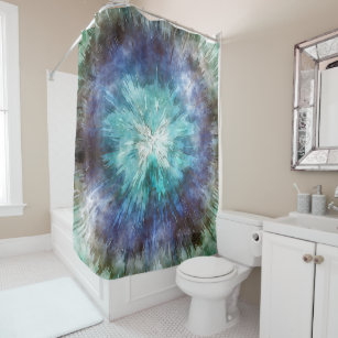 Hues Of Blue Tie Dye Shower Curtain