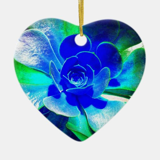 Hues of Blues Double-Sided Heart Ceramic Christmas Ornament