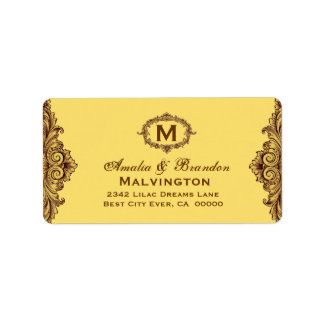 Hues of Gold Vintage Monogram Curlicue V05 Address Label