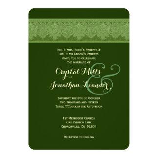 HUES of GREEN Damask Wedding Template V21 Custom Invites
