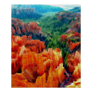 Hues of the Hoodoos in Bryce Canyon NP -Realism Poster
