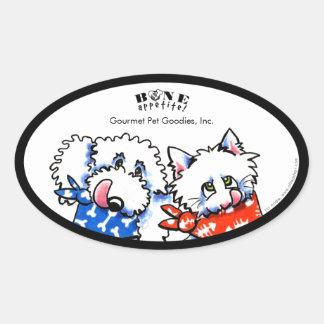 ¡Hueso Appetit del gato del perro! Gastrónomo del Pegatina Ovalada