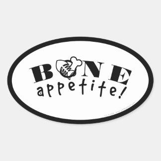 ¡Hueso Appetit! Negocio gastrónomo de las comidas Pegatinas Óval Personalizadas