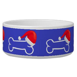 Hueso azul del gorra de Santa del cuenco del perro Comedero Para Mascota