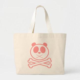 Hueso cruzado de la panda - rosa bolsa tela grande