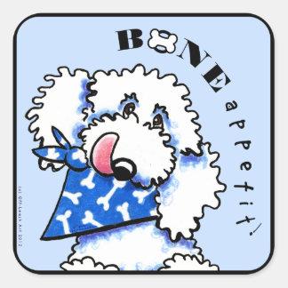 ¡Hueso de perro Appetit! Azul de acero gastrónomo Pegatina Cuadrada