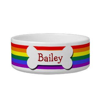 Hueso de perro del orgullo gay del arco iris tazon para gato