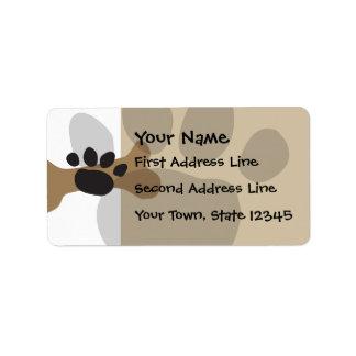Hueso de perro y impresión de la pata etiquetas de dirección