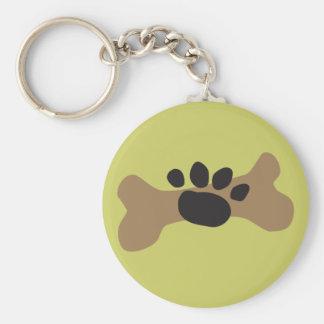 Hueso de perro y impresión de la pata llavero redondo tipo pin