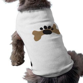 Hueso de perro y impresión de la pata ropa macota