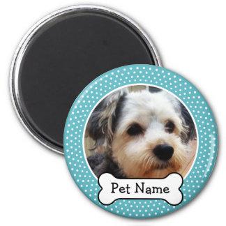 Hueso de perro y marco azul de la foto del mascota imán redondo 5 cm