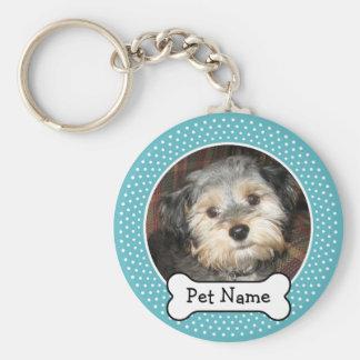 Hueso de perro y marco azul de la foto del mascota llavero redondo tipo pin
