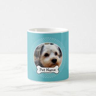 Hueso de perro y marco azul de la foto del mascota taza de café