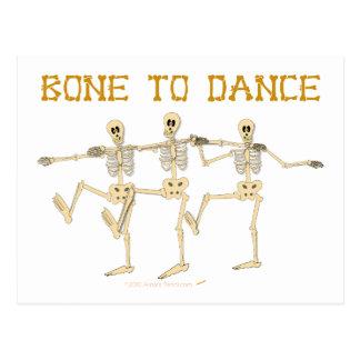 Hueso divertido de los esqueletos del baile para tarjetas postales