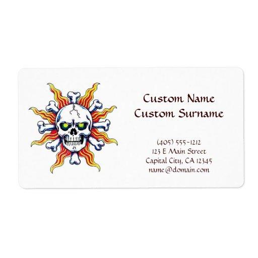 Hueso fresco del sol del cráneo del símbolo del etiqueta de envío