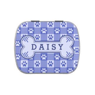 Hueso personalizado azul lindo de la guinga de la latas de caramelos