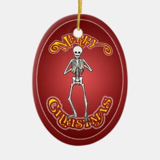 Hueso que juega el ornamento personalizado adorno navideño ovalado de cerámica