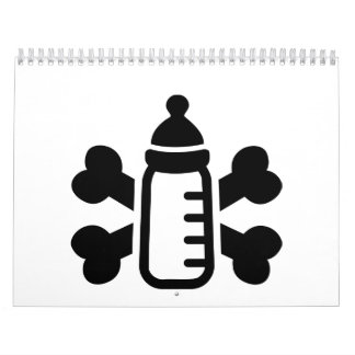 Huesos cruzados biberón calendarios de pared