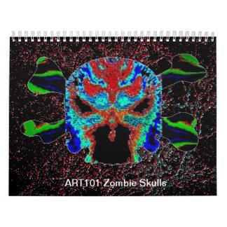 Huesos cruzados de los cráneos n del zombi ART101 Calendario De Pared