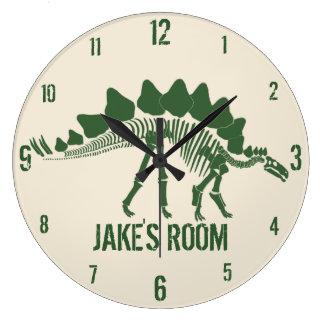 Huesos de dinosaurio personalizados reloj redondo grande
