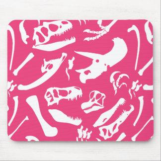 Huesos de dinosaurio (rosa) alfombrilla de ratón