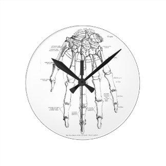 Huesos de la anatomía el | del vintage de la mano reloj redondo mediano