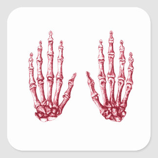 Huesos de la mano humana pegatina cuadrada