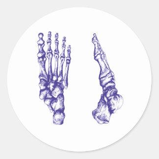 Huesos de los pies - azul pegatina redonda