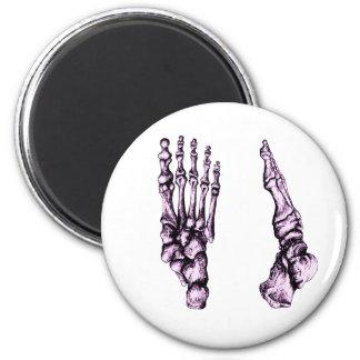 Huesos de los pies - púrpura imán redondo 5 cm